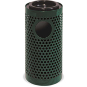 UltraPlay Metal Thermoplastic Coated Ash/Trash Receptacle, Perforated w/Liner, Beige - PR-12AT-BGE