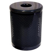 32 Gallon Thermoplastic Coated Perforated Pattern Trash Receptacle - Black
