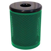 32 Gallon Thermoplastic Coated Perforated Pattern Trash Receptacle - Green