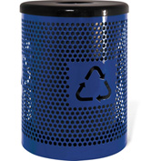 UltraPlay 32 Gallon Recycling Logo Trash Receptacle Perforated, Blue - PR-32RE-BLU