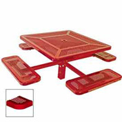 "46"" Single Pedestal Square Table, Inground, Perforated 78""W x 78""D - Red"