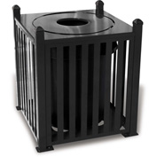 UltraPlay 32 Gallon Savannah Bow Receptacle w/Flat Top Lid & Plastic Liner - SV-B32FT-BRN