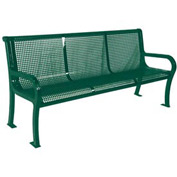 "6' Lexington Bench, Perforated 72""W x 25""D - Green"