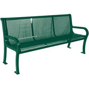 "8' Lexington Bench, Perforated 96""W x 25""D - Green"
