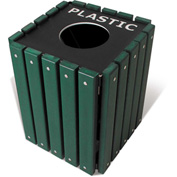 UltraPlay 20 Gallon Green Recycle Trash Receptacle w/Lid, Glass - TRSQ-20-GRN-G