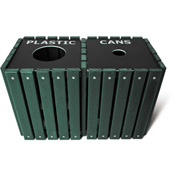 UltraPlay (2) 20 Gallon Green Recycle Trash Receptacle w/Lid, Plastic/Glass - TRSQ-40-GRN-P/G