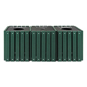 UltraPlay (3) 20 Gallon Green Recycle Trash Receptacle w/Lid, Plastic/Can/Glass - TRSQ-60-GRN-P/C/G