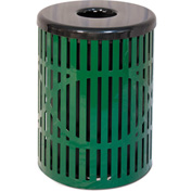UltraPlay 55 Gallon Wave Trash Receptacle, Green - W-55-GRN