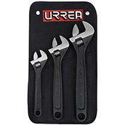 "Urrea Adjustable Wrench Set, 795S, 8"", 10"", 12"", Black Finish"