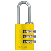 ABUS Anodized Aluminum Resettable 3-Dial Combination Lock 145/20 C - Yellow - Pkg Qty 6