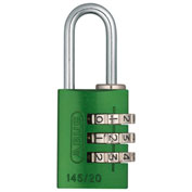 ABUS Anodized Aluminum Resettable 3-Dial Combination Lock 145/20 C - Green - Pkg Qty 6