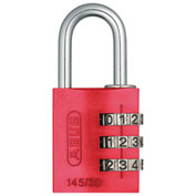 ABUS Anodized Aluminum Resettable 3-Dial Combination Lock 145/30 C - Red - Pkg Qty 6
