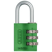 ABUS Anodized Aluminum Resettable 3-Dial Combination Lock 145/30 C - Green - Pkg Qty 6