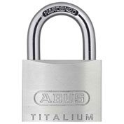"ABUS Aluminum Padlock 54TI/40 KD C 1/4"" Dia Steel Shackle - Keyed Different 1-1/2""W - Pkg Qty 6"