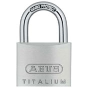 "ABUS Titalium Padlock 64TI/40 KD C 1/4"" Dia. Steel Shackle - Key Different 1-1/2""W - Pkg Qty 6"