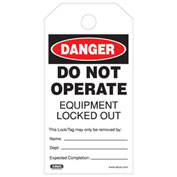 ABUS T200 High-Quality Plastic DO NOT OPERATE Safety Lockout Tag, 73008 - Pkg Qty 40