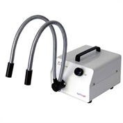 AmScope HL150-AY 150W Dual Gooseneck Fiber Optic Illuminator, White