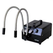 AmScope HL150-BY 150W Dual Gooseneck Fiber-Optic Illuminator, Black