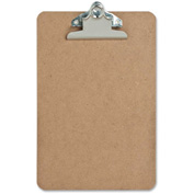 "Sparco™ Hardboard Clipboard, Nickel-Plated Clip, 6"" x 9"", Brown"