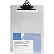 "Sparco™ Spring Clip Plastic Clipboard, 9"" x 12-1/2"", Clear"
