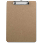 "Sparco™ Hardboard Clipboard with Rubber Grips, 9"" x 12-1/2"", Brown"