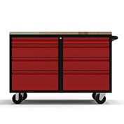 "Valleycraft® Collectors Edition Garage 48"" Work Bench Cab w/top - 2 sets of 4 Drawers, BK/Red"