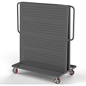 "Valley Craft Modular A-Frame Bin Cart F89547 w/1 Louvered 1 Round-Peg Pegboard 48"" x 30"" x 62"" Gray"