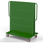 "Valley Craft Modular A-Frame Bin Cart F89547 w/1 Louvered 1 Round-Peg Pegboard 48"" x 30"" x 62"" Green"
