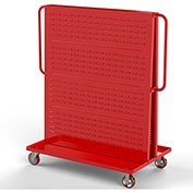"Valley Craft Modular A-Frame Bin Cart F89547 w/1 Louvered 1 Round-Peg Pegboard 48""W x 30""D x 62"" Red"