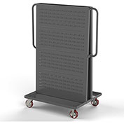 "Valley Craft Modular A-Frame Bin Cart F89547 w/1 Louvered 1 Round-Peg Pegboard 36"" x 30"" x 62"" Gray"