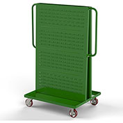 "Valley Craft Modular A-Frame Bin Cart F89547 w/1 Louvered 1 Round-Peg Pegboard 36"" x 30"" x 62"" Green"