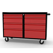 "Valleycraft® Collectors Edition Garage 48"" Work Bench Cabinet - 2 sets of 4 Drawers, BK/Red"