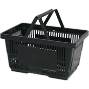 VersaCart® Plastic Shopping Basket 28 Liter with Nylon Handle 206-28L - Black - Pkg Qty 12