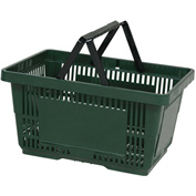 VersaCart® Plastic Shopping Basket 28 Liter with Nylon Handle 206-28L - Drk Green - Pkg Qty 12