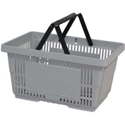 VersaCart® Plastic Shopping Basket 28 Liter with Nylon Handle 206-28L - Lt Grey - Pkg Qty 12