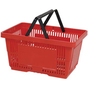 VersaCart® Plastic Shopping Basket 28 Liter With Nylon Handle 206-28L - Red - Pkg Qty 12