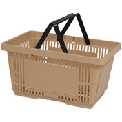 VersaCart® Plastic Shopping Basket 28 Liter with Nylon Handle 206-28L - Tan - Pkg Qty 12