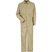 EXCEL FR® ComforTouch® Flame Resistant Deluxe Coverall CLD4, Khaki, 6 oz., Size 34 Regular