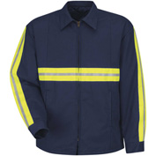 Red Kap® Enhanced Visibility Perma-Lined Panel Jacket, Navy, Polyester/Cotton, Tall, 2XL