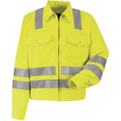 Red Kap® Hi-Visibility Ike Jacket, Class 3, Fluorescent Yellow/Green, Polyester, Tall, 50""