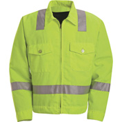 Red Kap® Hi-Visibility Ike Jacket, Class 2, Fluorescent Yellow/Green, Polyester, Tall, 50""