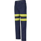 "Red Kap® Enhanced Visibility Men's Relaxed Fit Jean, Prewash with Yellow/Green Trim, 30"" Waist"