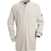 EXCEL FR® Flame Resistant Long Sleeve Tagless Henley Shirt SEL2, Gray, Size 4XL Regular