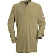 EXCEL FR® Flame Resistant Long Sleeve Tagless Henley Shirt SEL2, Khaki, Size L Regular