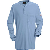 EXCEL FR® Flame Resistant Long Sleeve Tagless Henley Shirt SEL2, Light Blue, Size XL Long