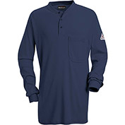 EXCEL FR® Flame Resistant Long Sleeve Tagless Henley Shirt SEL2, Navy, Size L Long