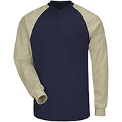 EXCEL FR® Long Sleeve Color-Block Tagless Henley Shirt SEL4, Navy/Khaki, Size XXL Regular