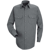 Red Kap® Men's Heathered Poplin Uniform Shirt Long Sleeve Navy Long-L SH10-SH10NVLNL