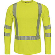 Power Dry® FR Hi-Visibility Long Sleeve T-Shirt SMK2, Yellow/Green, Size L Regular