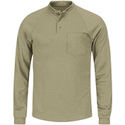 CoolTouch® 2 Flame Resistant Long Sleeve Henley Shirt SML2, Khaki, Size L Regular